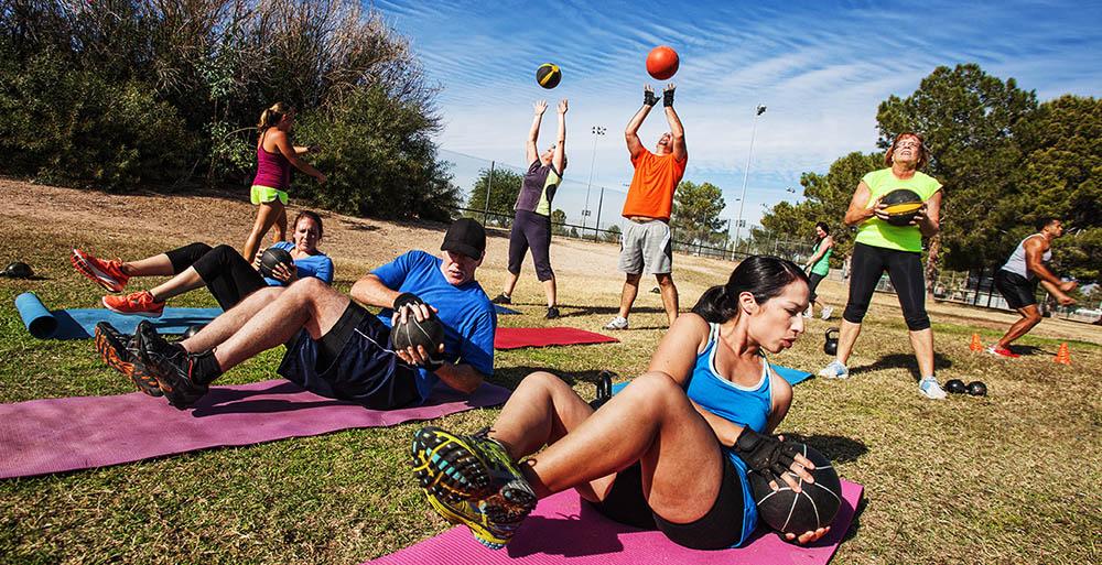 Fitness mat outside